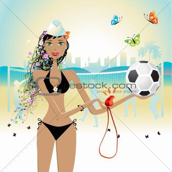 Beautiful girl plays volleyball