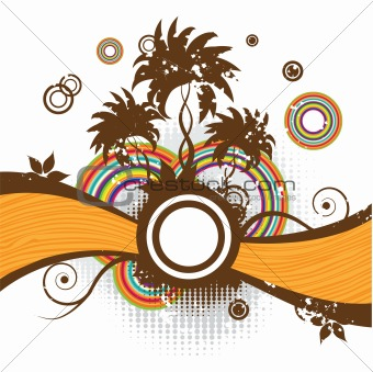Abstract summer frame, palm trees