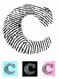 Fingerprint Alphabet Letter C