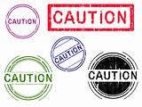 5 Grunge Stamps - CAUTION