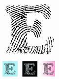 Fingerprint Alphabet Letter E