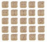 beige square web buttons set
