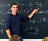 HAndsome young boy teaching mathematics