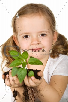 Little girl holding young plant