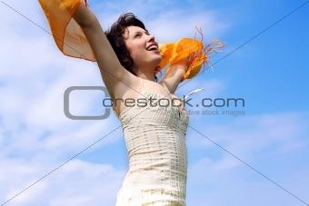 beautiful woman under blue sky