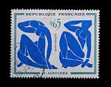 Blue nude stamp