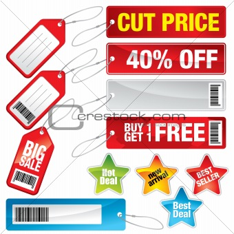 Sale marks, tags and stickers