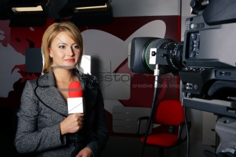 News Reporter in Live Transmission