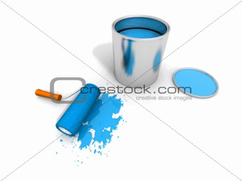 paint roller, blue paint can and splashing
