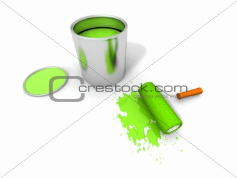 paint roller, green paint can and splashing