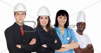 Group of workers on a white background