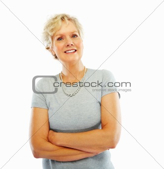 Portrait of a happy senior woman with her hands folded isolated over white background