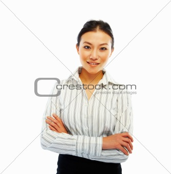 Portrait of a smart Asian woman standingwith her hands folded on white background