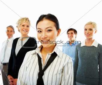 Portrait of a group of cheerful business people on white background
