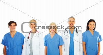 Doctors and nurses standing in a row