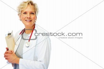 Mature female doctor holding a writing pad