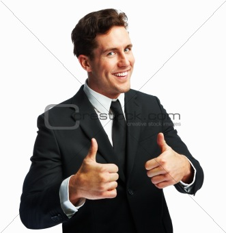 Happy businessman showing success sign