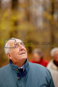 Senior man looking up