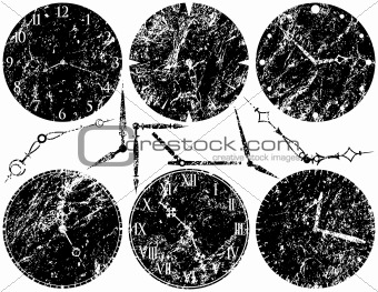 Six Grunge Clock Faces and Hands
