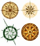 Four Grunge Compasses - Vector File