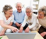 A group of old people working together