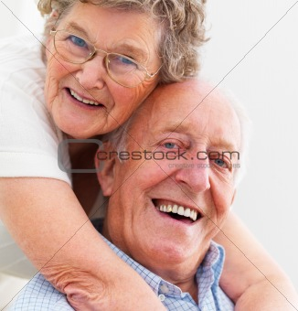 Closeup portrait of a happy senior couple