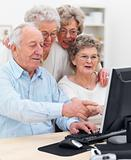 GRoup of senior men and women using computer