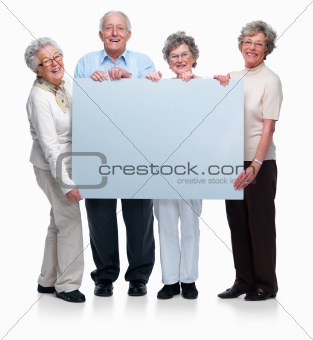 Group of old people holding a blank board