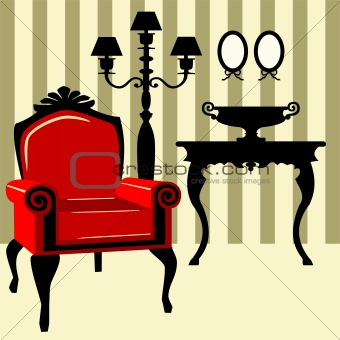Antique interior with red armchair
