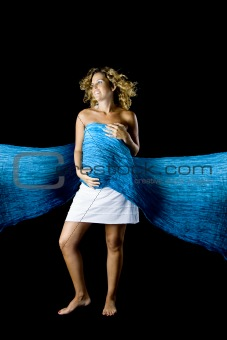 Pregnant woman in blue