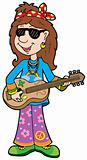 Cartoon hippie musician