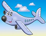 Cartoon airplane on blue sky