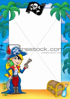 Frame with pirate woman