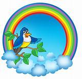 Rainbow circle with cute bird