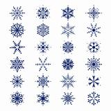 Set of 24  beautiful snowflakes collection for your design