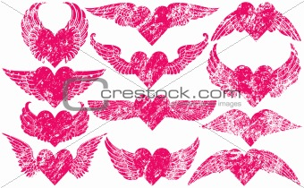 Grunge Hearts with Wings