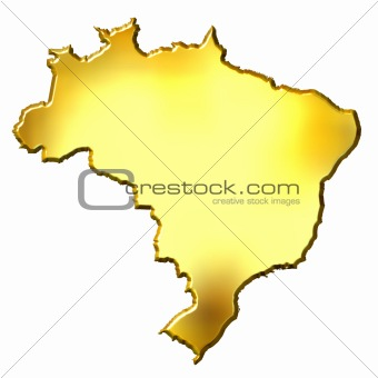 Brazil 3d Golden Map