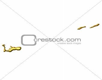 Cayman Islands 3d Golden Map