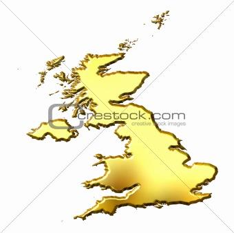 Great Britain 3d Golden Map