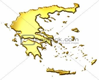 Greece 3d Golden Map