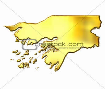 Guinea-Bissau 3d Golden Map