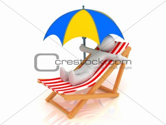 Chaise Longue, person and umbrella