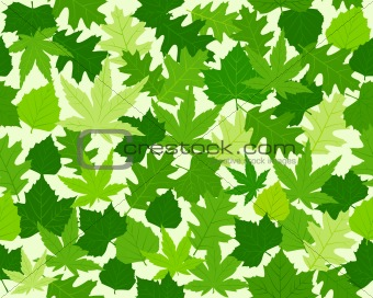 Green spring leaves texture seamless pattern