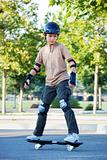 Teenage Boy Riding Skateboard