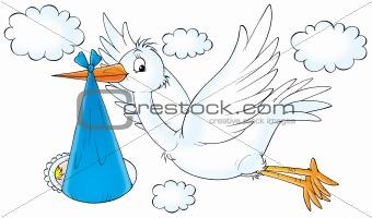 Stork with newborn