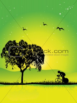 autumn scenery vector illustration