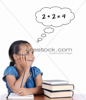 Adorable girl studying mathematics