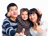 Asian family showing thumbs up