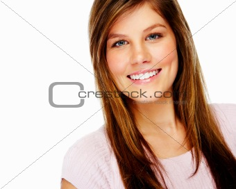 Pretty young woman isolated on white background