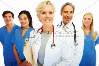 Group of happy doctors against white